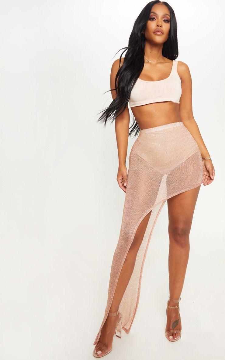 Shape Rose Gold Sheer Knitted Asymmetric Maxi Skirt