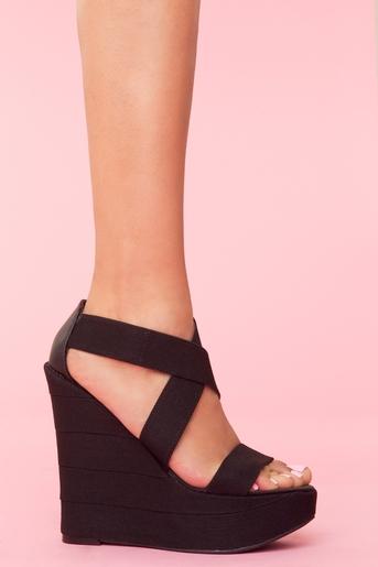Bound Platform Wedge - Black in  Shoes at Nasty Gal