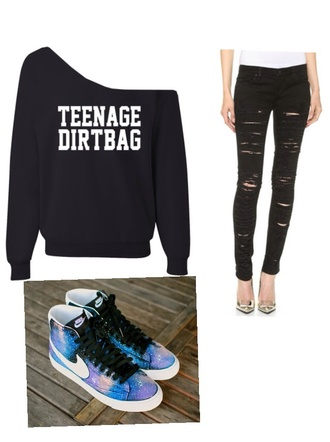 sweater one shoulder teenage dirtbag jeans shoes