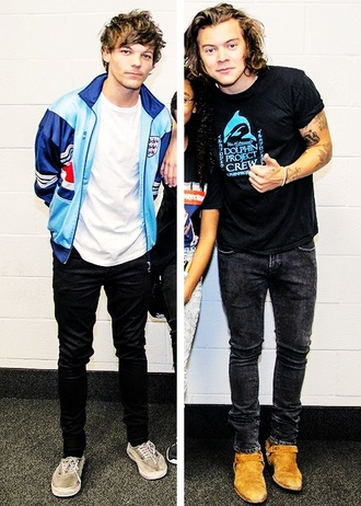 jacket blue white black cool grunge indie hipster vintage louis tomlinson one direction