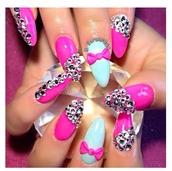 nail accessories,gems nails,pink