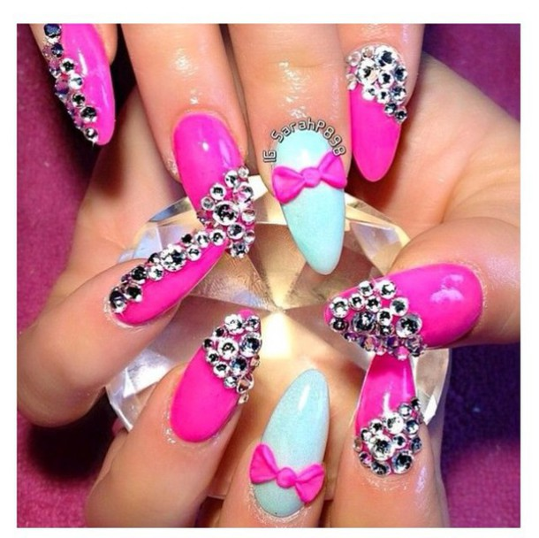 nail accessories gems nails pink