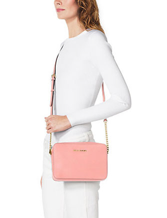 3f0a2965dd41 MICHAEL Michael Kors Jet Set Large Saffiano Leather Crossbody Bag In Pale  Pink