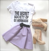 t-shirt,black and white,lavender,leather,chunky shoes,studded shoes,biker,grunge,indie,cute,girly,skirt,graphic tee,mermaid,ex mermaid,purple