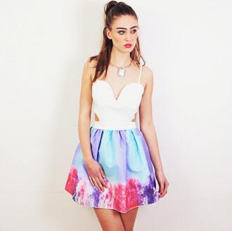 dress skater dress rainbow dress cut-out dress sweetheart dresses tie dye dress