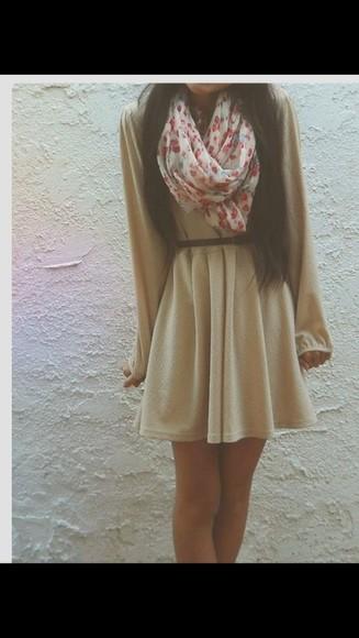 beige dress long sleeved short dress