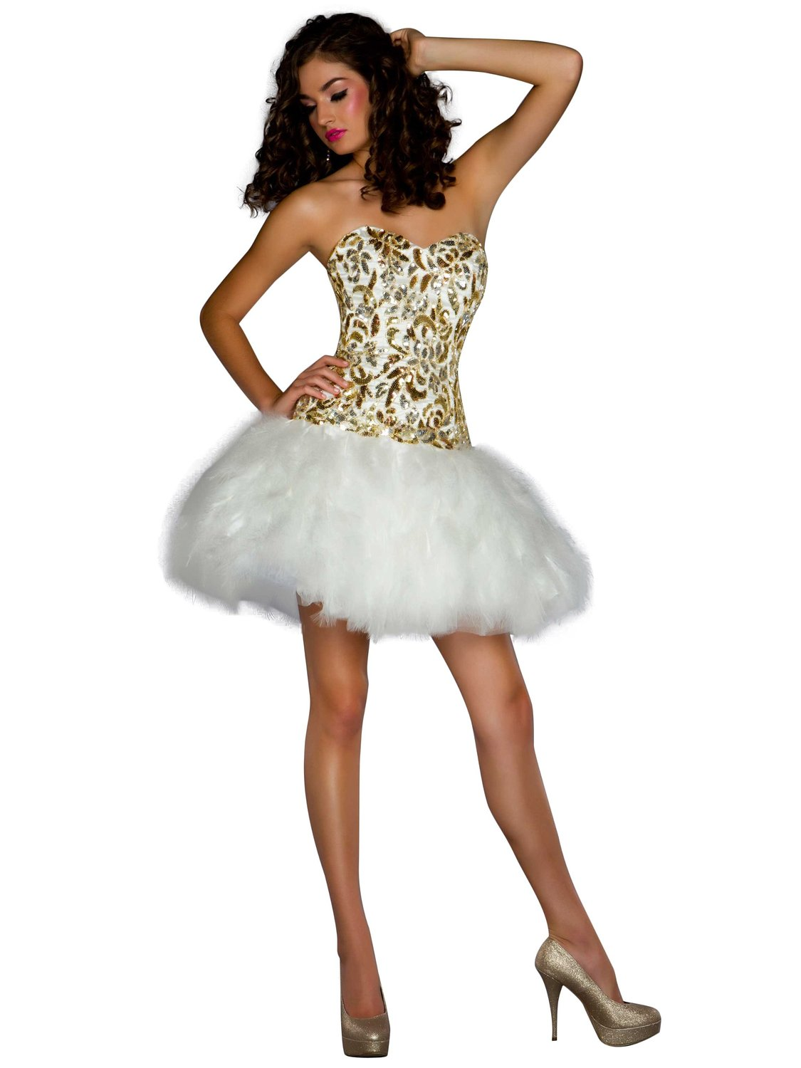Mac duggal glittering strapless sequin feather mini party dress at amazon women's clothing store: