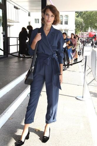 jumpsuit tie front jumpsuit black crossbody bag kitten block heels blue tie front jumpsuit blue jumpsuit tie front crossbody bag black shoes alexa chung black block heel pumps all navy blue outfit block heels