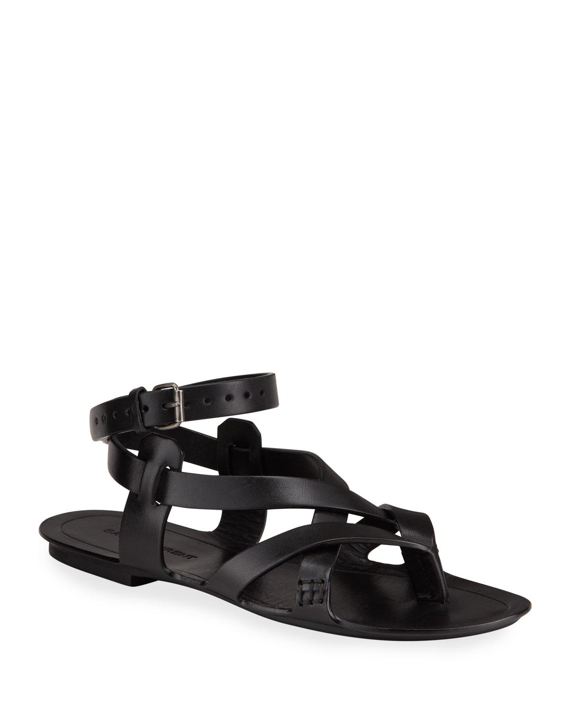 Saint Laurent Culver Flat Leather Buckle Ankle-Strap Sandals | Neiman Marcus
