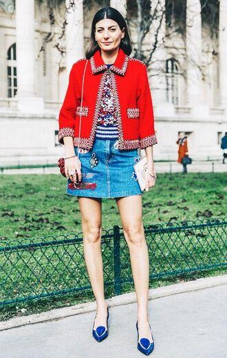 skirt embroidered denim skirt blue skirt mini skirt top printed top jacket red jacket flats blue flats pointed flats streetstyle embroidered skirt giovanna battaglia streetwear pocket jacket