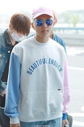 pink hat,snapback,cap,round sunglasses,white sweater,korean fashion,korean style,korean celebrities,mens sweater