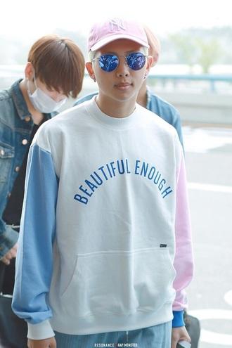 pink hat snapback cap round sunglasses white sweater korean fashion korean style korean celebrities mens sweater