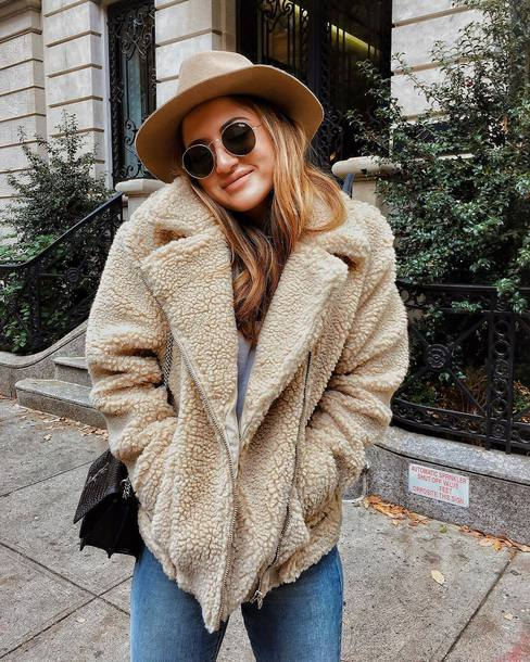 jacket tumblr nude jacket fuzzy jacket felt hat hat round sunglasses sunglasses
