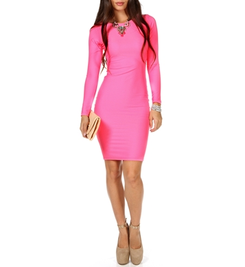 Hot Pink Long Sleeve Midi Dress c77f8997a