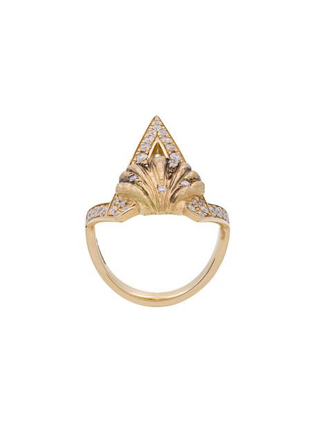 Venyx women ring gold black grey metallic jewels