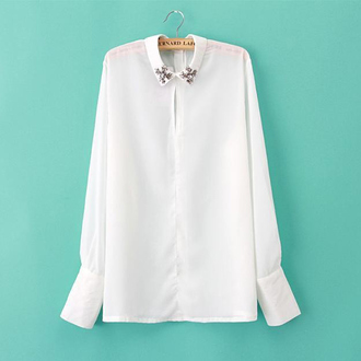 white blouse blouse going out blouse special occasion classy beaded blouse women shirts elegant style gemstone