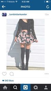 tank top,black,crop tops,long sleeves,lace,floral,skirt,leggings,short floral print skirt,floral skater skirt