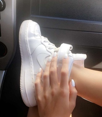 shoes beautiful cute nails nike sneakers nike air force 1 white force
