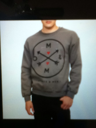 sweater gray sweater of mice and men red hearts arrow menswear