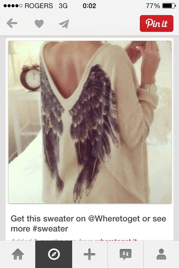 sweater shirt brand name angel wings cream sweater angel wings girl wings angel wings feathers print graphic sweater jersey knit cream black and white low back cute