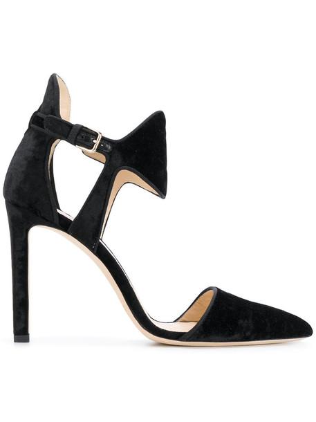 Jimmy Choo women moon pumps leather black velvet shoes