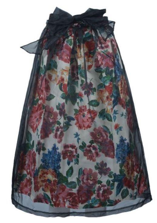 Black Organza Overlay Bright Floral Midi Skirt