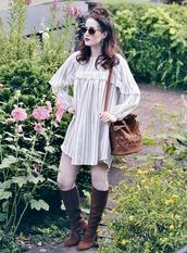 like a riot,blogger,shoes,bag,sunglasses,long sleeves,stripes,striped dress,brown bag,shoulder bag,mini dress,knee high boots,suede boots