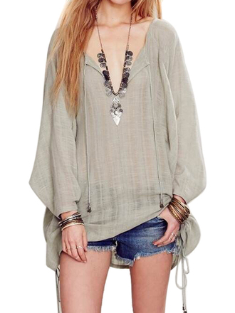 blouse green v neck tied-side long-sleeve