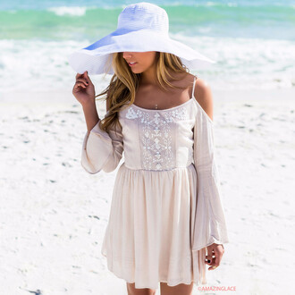 dress cream open shoulder amazinglace embellished beach sundress