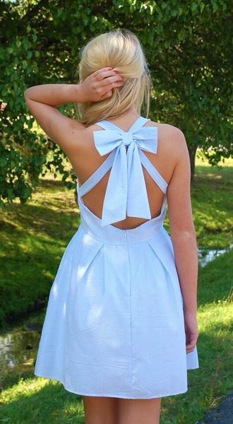 dress light blue bow on back