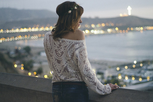 the art sartorialist blogger top jeans jewels belt jacket lace