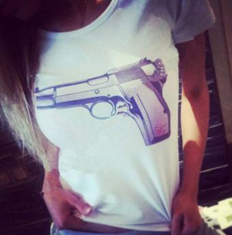 Gun Printed Tee
