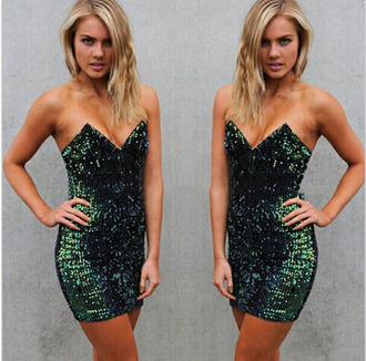 dress sequins green sequin dress strapless strapless dress bodycon pointed dress pointy dress green glitter dress sequin dress glitter dress glitter t-shirt mini dress bodycon dress whoisshe birthday dress