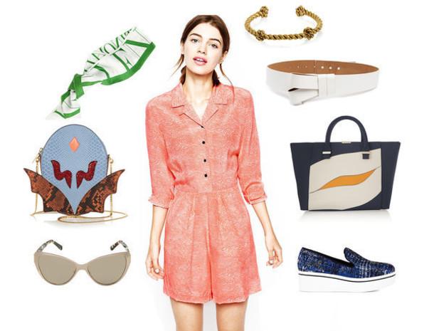 zanita blogger bag belt coral romper summer outfits sunglasses jumpsuit jewels