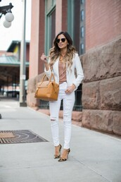 maria vizuete,mia mia mine,blogger,sunglasses,white blazer,white jeans,ripped jeans,brown bag,nude top,animal print