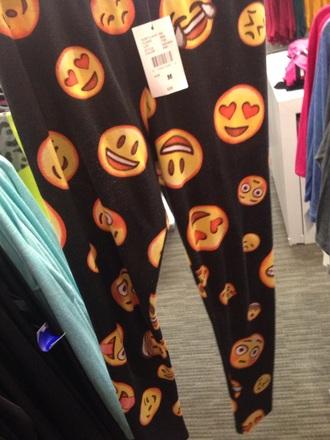 pants leggings printed leggings emoji print emoji pants red lime sunday