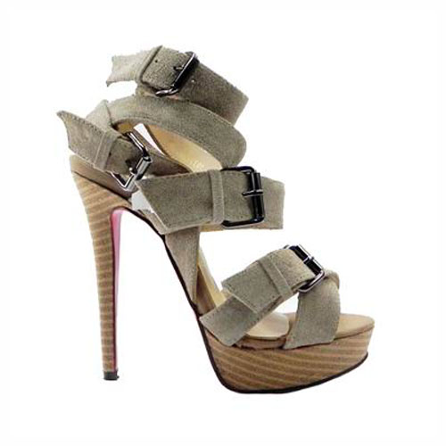 Luxury best price christian louboutin toutenkaboucle 150 suede buckle sandals gray red sole shoes