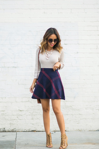 lace and locks blogger sweater skirt sunglasses bag shoes jewels plaid skirt plaid beige top statement necklace nude sweater mini skirt blue skirt skater skirt long sleeves fall outfits sandals sandal heels high heel sandals
