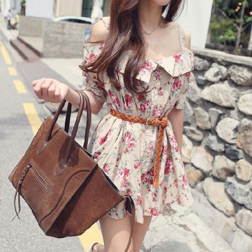 Floral Print Short Sleeve Off Shoulder Mini Slip Dress [grzxy6601403] on Luulla