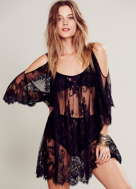 Dress: bikini, sheer, lace, black, crochet, off the shoulder ...
