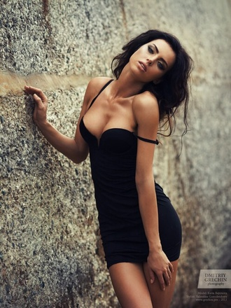 dress little black dress deep plunge
