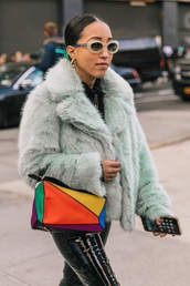bag,loewe bag,sunglasses,jacket,mint,fur jacket,multicolor,accessories,Accessory