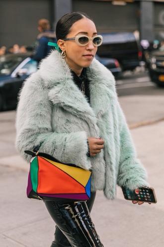bag loewe bag sunglasses jacket mint fur jacket multicolor accessories accessory