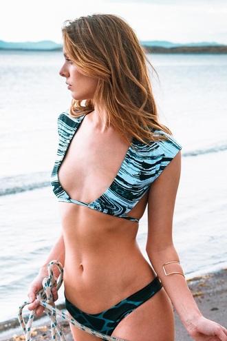 swimwear revel rey bikini bikini top blue black light blue