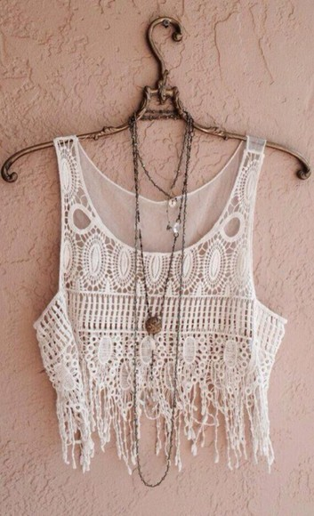boho white crop tops swimwear light crochet cover up