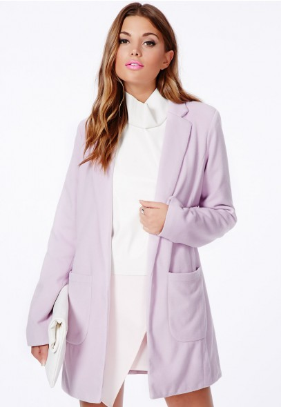 Vanessa Tailored Coat In Lilac - Coats & Jackets - Missguided