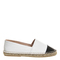 Office lucky espadrilles white leather black toe cap - flats