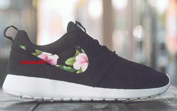 pick up e5b13 3636b Custom Nike Roshe Run- Pink Green Tropical Floral Black Nike ...