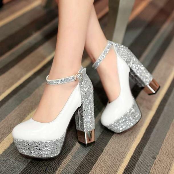 Cute shining rhinestone high heel shoes