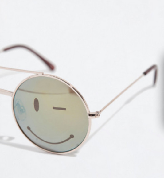 smiley face sunglasses circle sun glasses grey